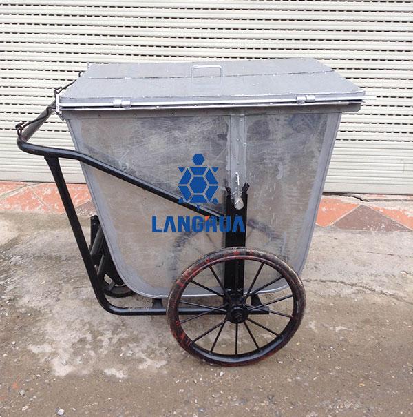 Xe gom rác 500l inox, có nắp